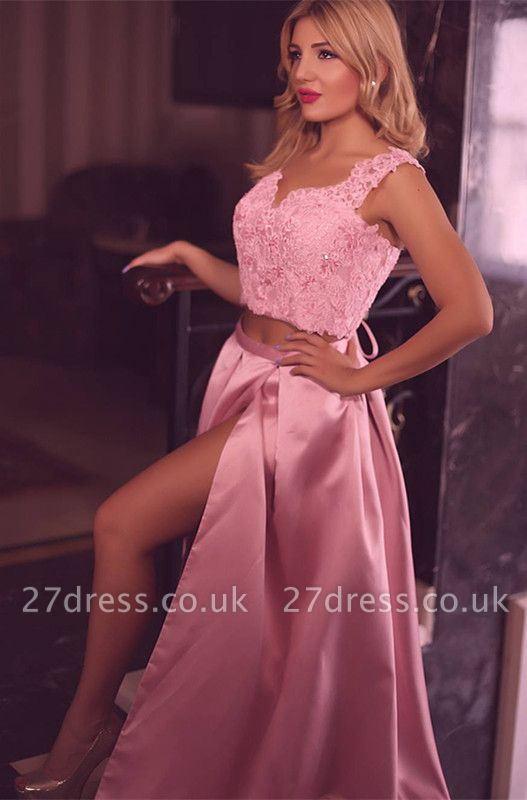 Two pieces lace prom Dress UK, evening Dress UK with slit