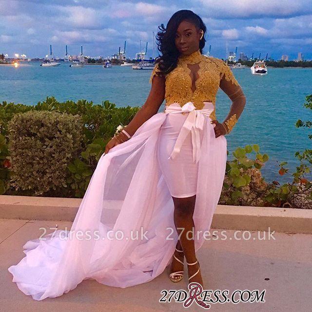 Gold Long-Sleeves High-Neck Detachable-Skirt Gorgeous Lace Evening Dress UKes UK BK0
