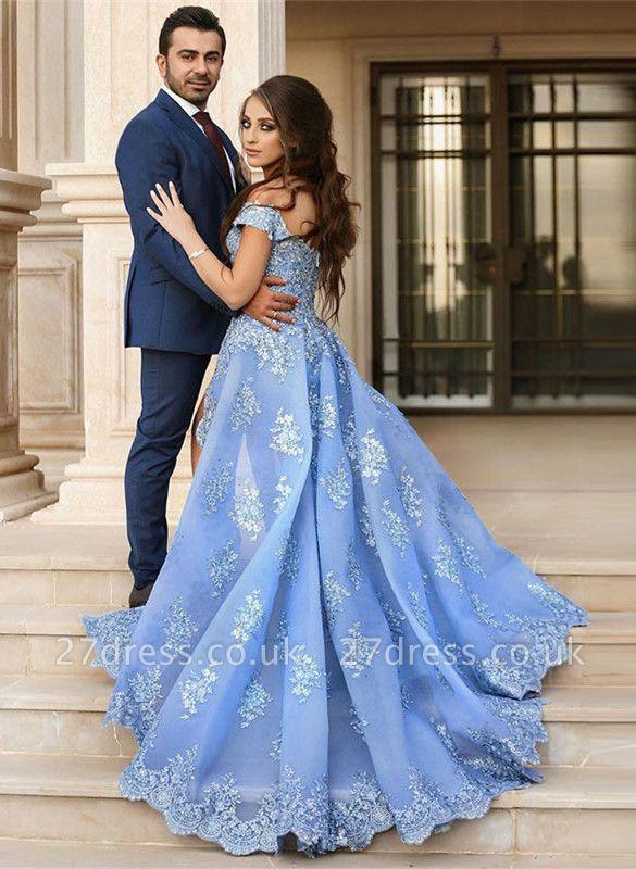 Gorgeous Off-the-Shoulder Lace Appliques Evening Dress UK Long Split Prom Dress UK