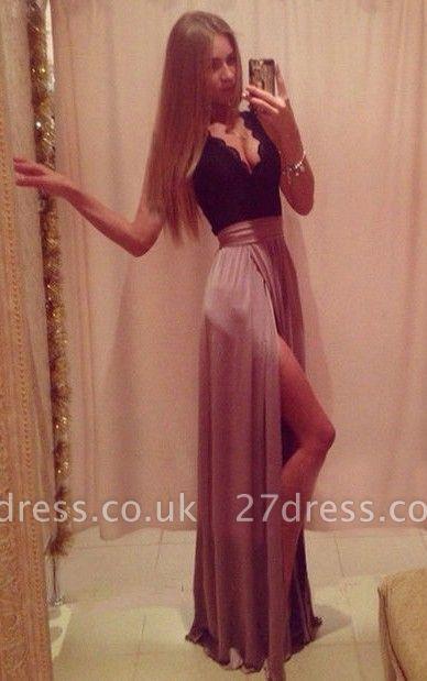 Sexy V-neck Lace A-line Prom Dress UK Front Split Sleeveless