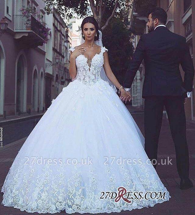 Elegant V-Neck Ball Tulle Sleeveless Appliques Wedding Dress