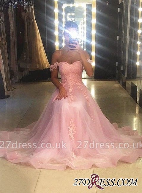 Sleeveless A-line Sweep-trian Pink Lace Sweetheart-neck Evening Dress UK