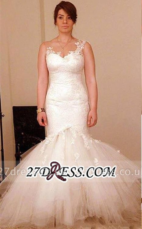Tulle Sexy Mermaid Appliques Elegant Sheer Wedding Dress