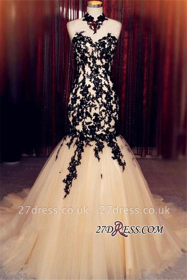 Champagne Sleeveless Mermaid Black High-Neck Lace Tulle Evening Dress UK BA8175
