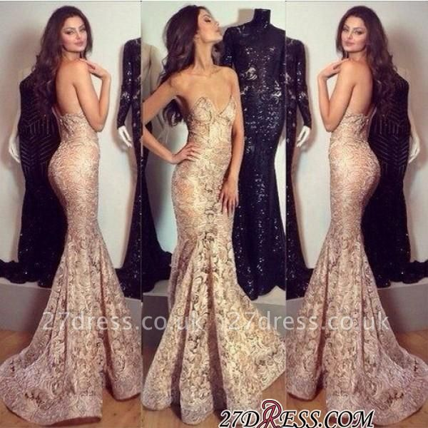 Mermaid Champagne Sweetheart-Neck Elegant Lace Evening Gowns