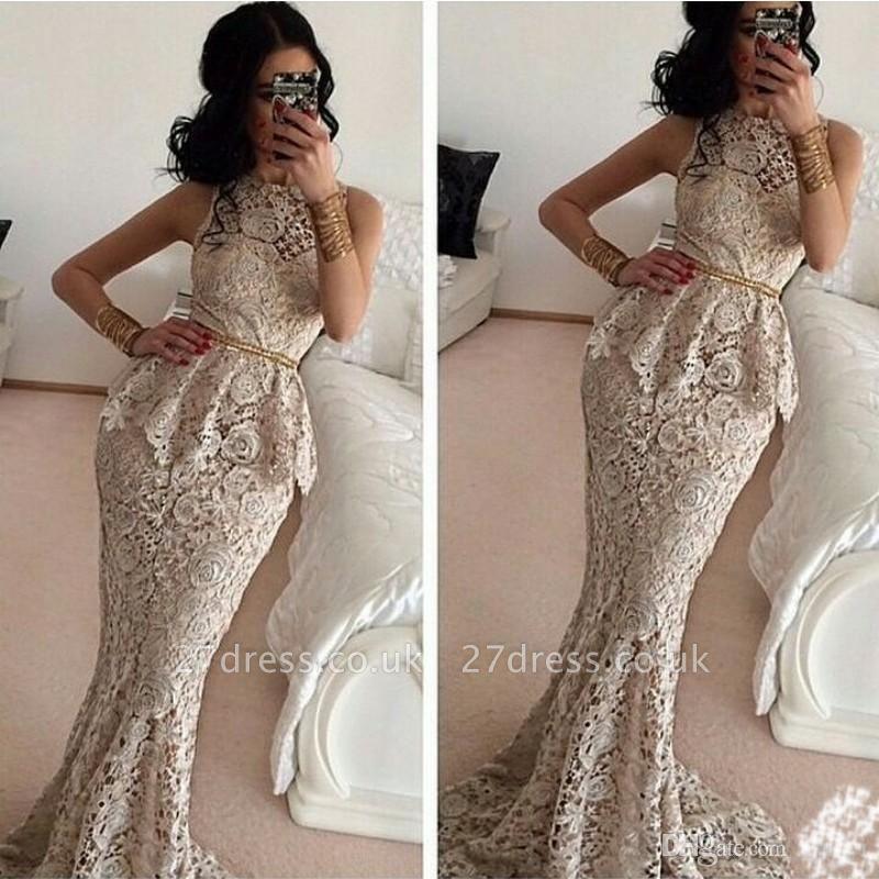 Luxury Full Lace Sleeveless Mermaid Evening Dress UKes UK Sweep Train Prom Gowns