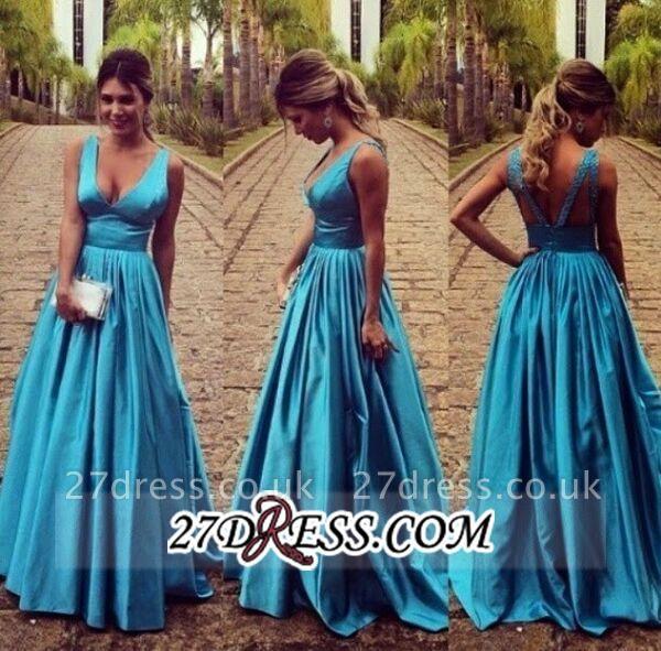 Modest Straps Zipper Long Sleeveless A-line Prom Dress UK