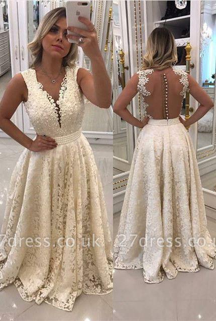 Luxury Sleeveless Lace Evening Dress UK Long With Pearls