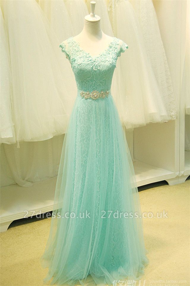 Sexy Lace Appliques Sleeveless Prom Dress UK Floor Length Tulle Evening Gowns