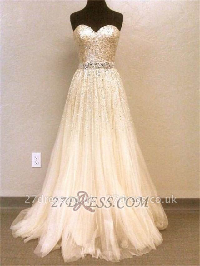 Luxurious Sweetheart Sleeveless Long Evening Dress UK With Beadings And Sequins