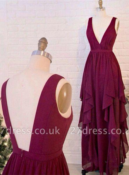 Beautiful Burgundy V-Neck Long Prom Dress UKes UK Chiffon Floor Length