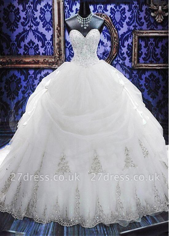 Gorgeous Ball Gown Beadss Wedding Dress Court Train Bowknot