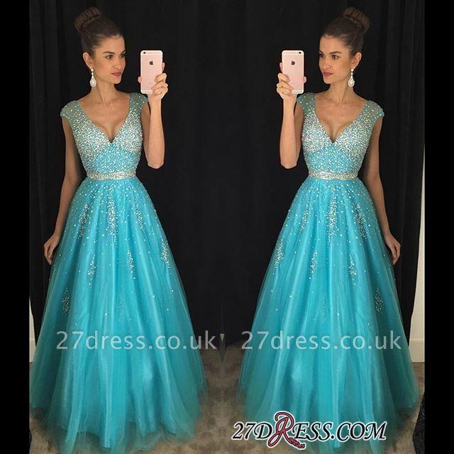 Tulle Crystal V-Neck Blue A-Line Luxury Prom Dress UK