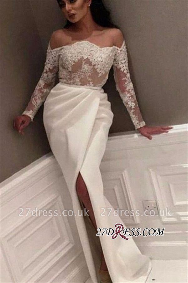 White Off-the-Shoulder Long Sleeve Prom Dress UK | Lace Prom Dress UK With Slit