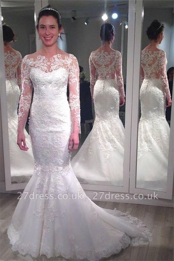 Elegant Lace Appliques Wedding Dress Sexy Mermaid Long Sleeve