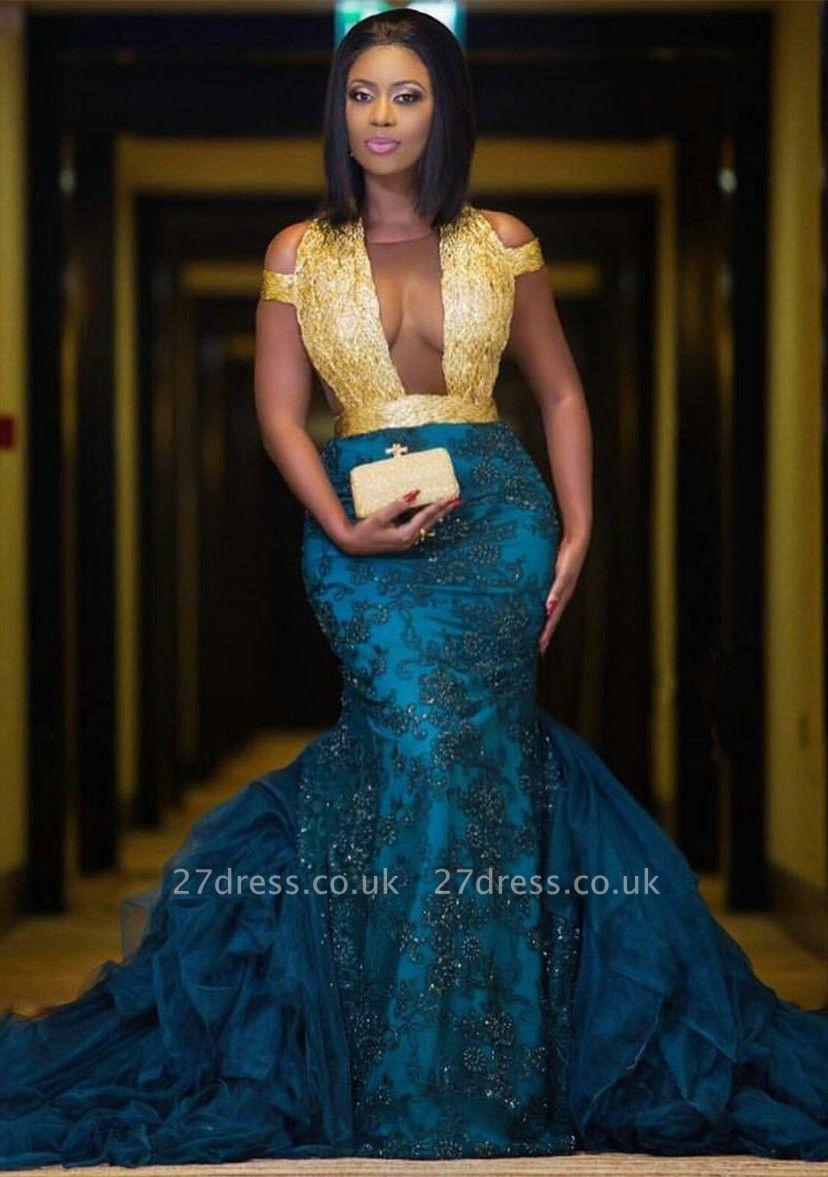 Modern Gold Lace Mermaid Beads Prom Dress UK | Long Prom Dress UK BK0 BA8385