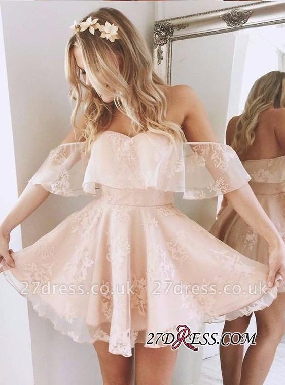 Party Elegant Off-Shoulder Short Lace Peach Cocktail Dress UKes UK BA6346