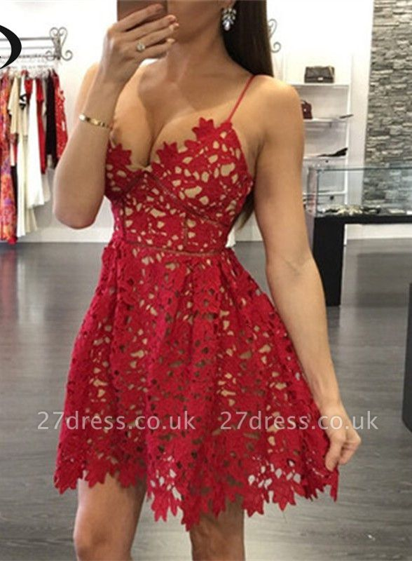 Elegant Red Lace Homecoming Dress UK Short Spaghetti Strap Party Gowns