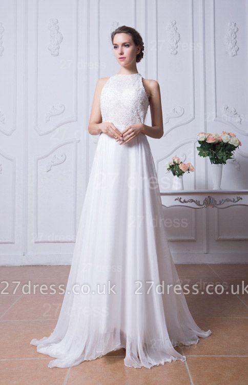 Sexy Jewel White Chiffon Evening Dress UK Open Back