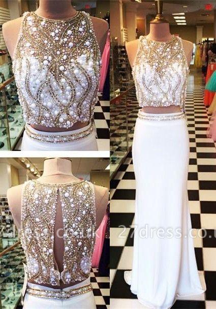 Gorgeous Halter Sleeveless Chiffon Prom Dress UK With Beadings Crystals