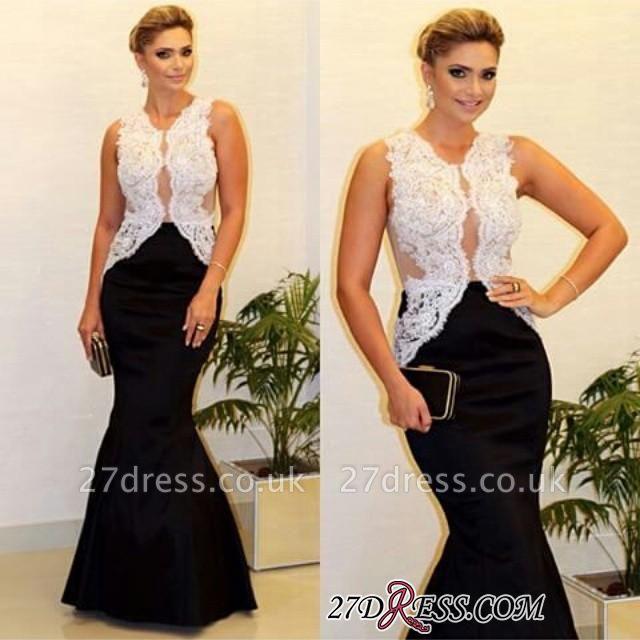 Sleeveless White-Lace Luxury Black Mermaid Evening Dress UK