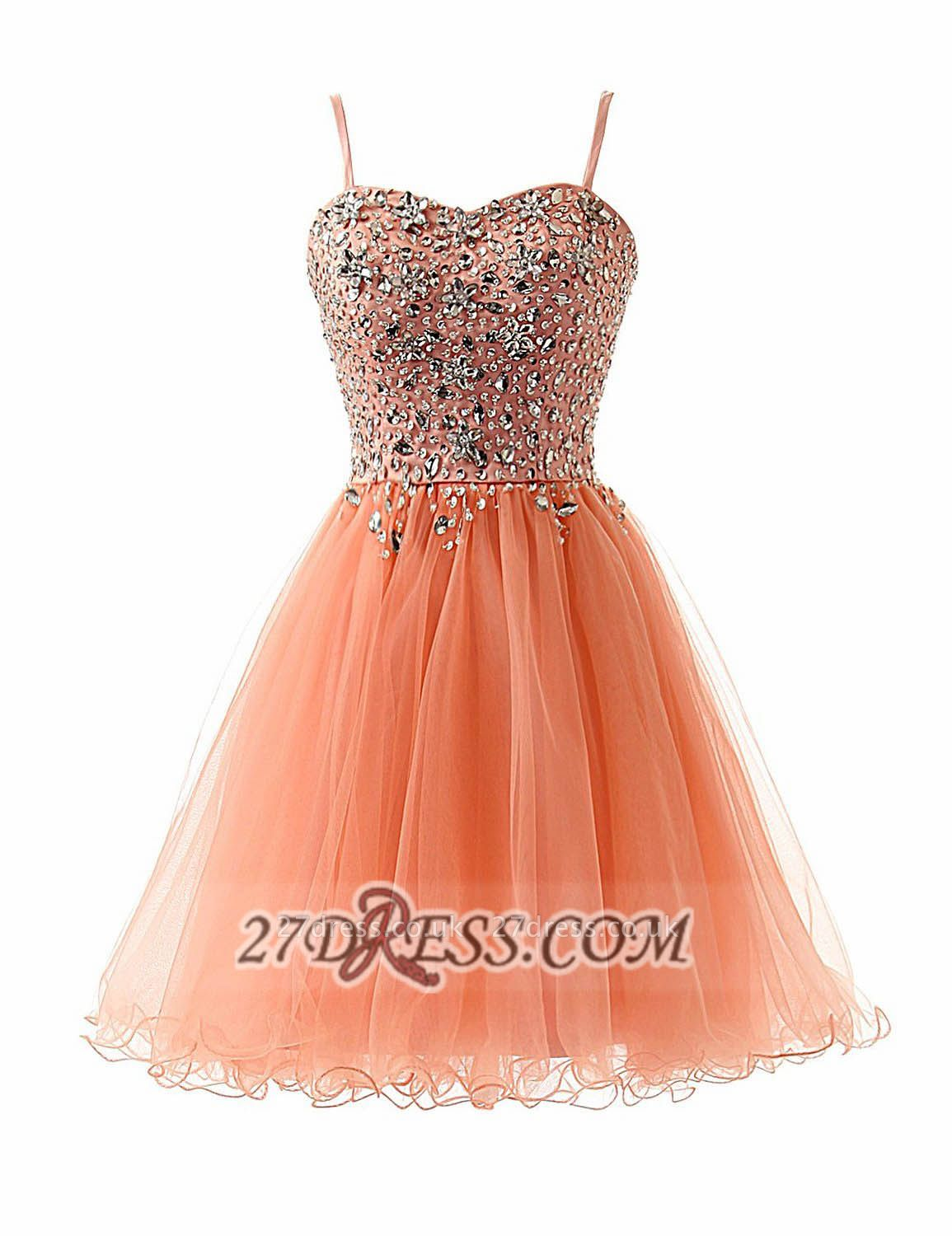Gorgeous Sweetheart Sleeveless Short Homecoming Dress UK Spaghetti Strap Beadings Crystals Tulle Cocktail Gown