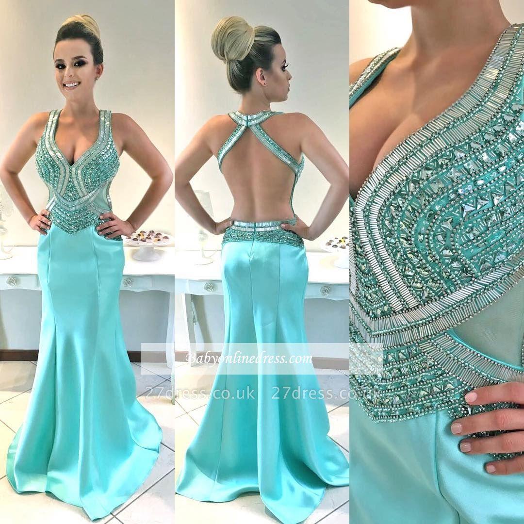 V-Neck prom Dress UK, mermaid evening Dress UK with crystal