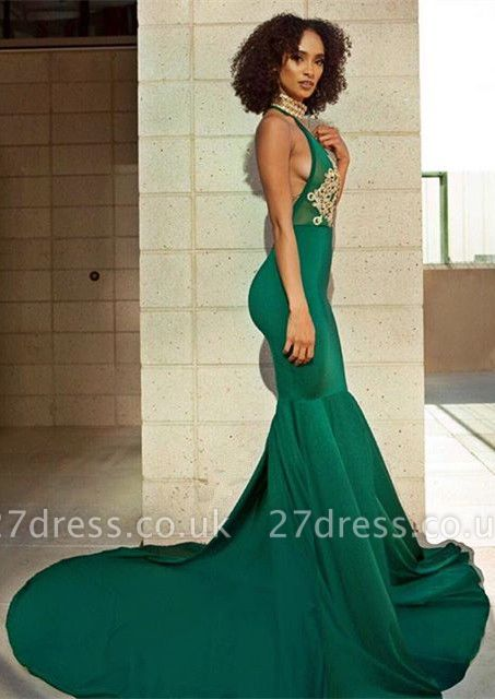 Sexy Green V-Neck Evening Dress UK | Backless Mermaid Prom Dress UK With Lace