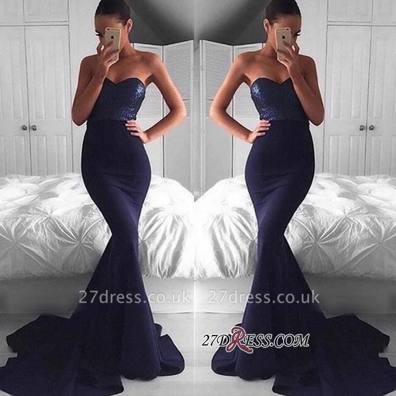 Sweep-Train Sequins Gorgeous Sweetheart Navy Mermaid Evening Dress UK