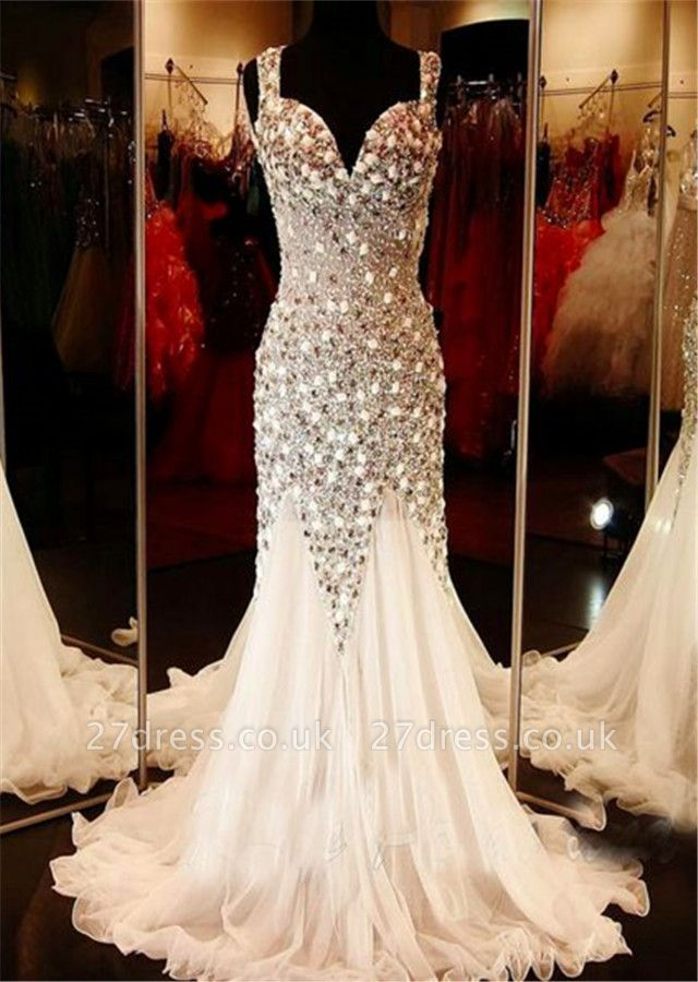 Gorgeous V-neck Tulle Evening Dress UK Beadings Crystals Sweep Train BA9453