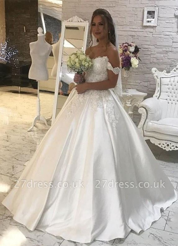 Gorgeous Ball Gown Lace White Wedding Dress | Off-the-shoulder Bridal Gown