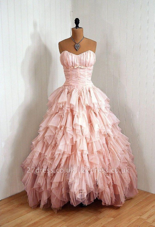 Luxury Sweetheart Tulle Prom Dress UKes UK Ruffles Floor Length