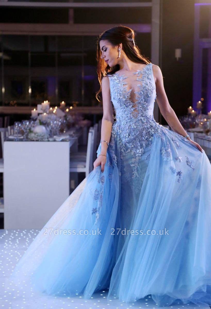 Gorgeous Sleeveless Lace Appliques Evening Dress UK Tulle Overskirt BA6876