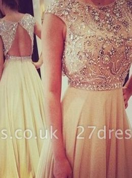 Long Gorgeous Sleeveless Prom Dress UK Chiffon Scoop Evening Gown With Beadings and Crystals