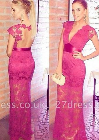 Newest Lace Appliques V-neck Cap Sleeve Prom Dress UK A-line Floor-length