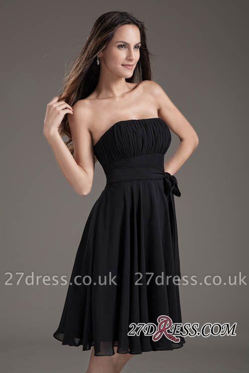 Sleeveless Black A-line Strapless Elegant Lace-up Short Bridesmaid Dress UK