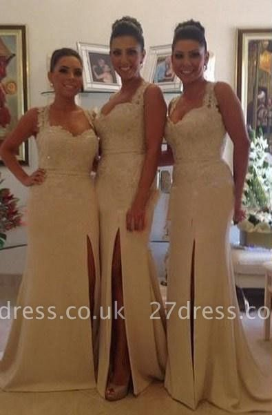 Luxury Sleeveless Lace Appliques Bridesmaid Dress UK Front Split Zipper Button Back
