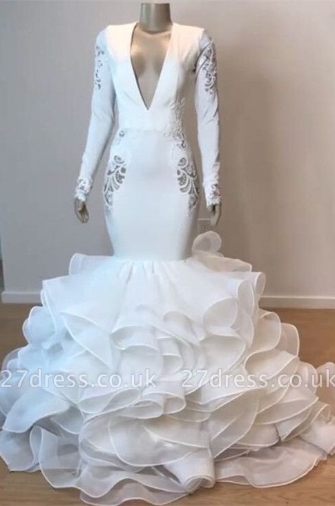 Gorgeous V-Neck Sexy Mermaid Wedding Dress | Ruffles Bridal Gowns