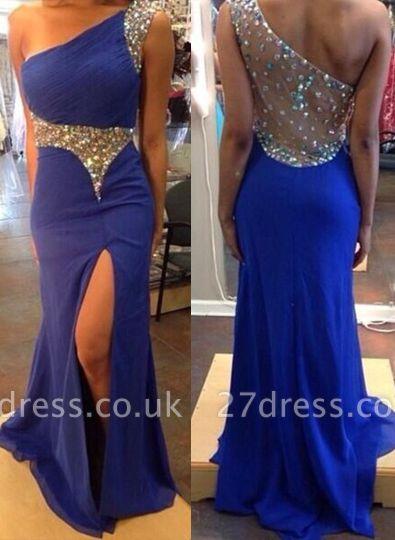 Elegant One Shoulder Royal Blue Evening Party Dress UK Split Prom Dress UK With Crystal Beadings