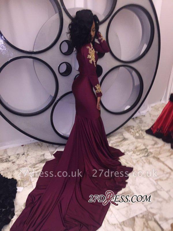 Appliques High-Neck Mermaid Burgundy Long-Sleeves Prom Dress UKes UK qq0103 BK0