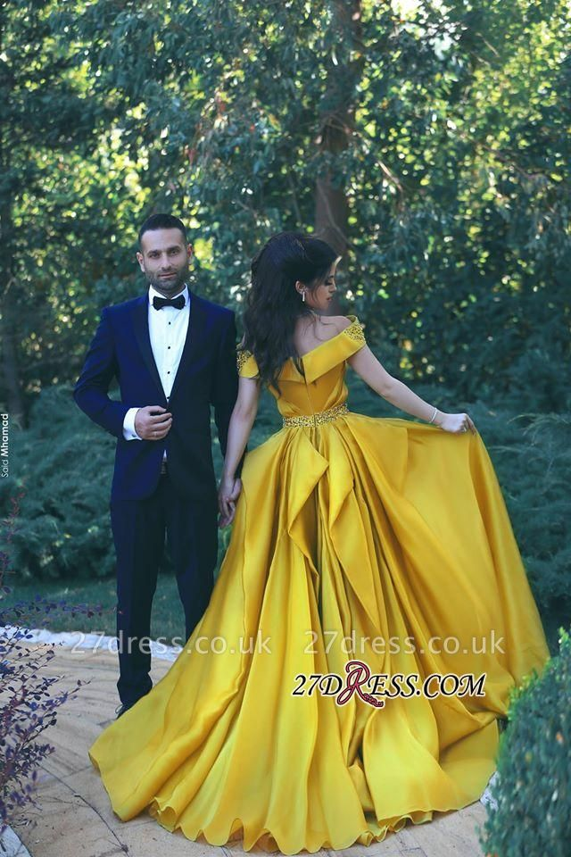 A-Line Sexy Off-the-Shoulder Gorgeous Ruffles Beadings Prom Dress UKes UK
