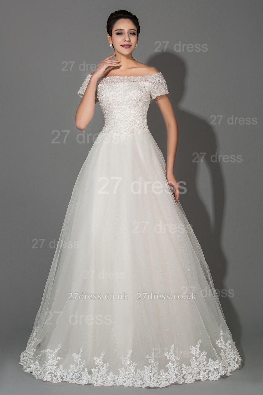 Elegant Off-the-shoulder White Princess Wedding Dress Lace Floor-length