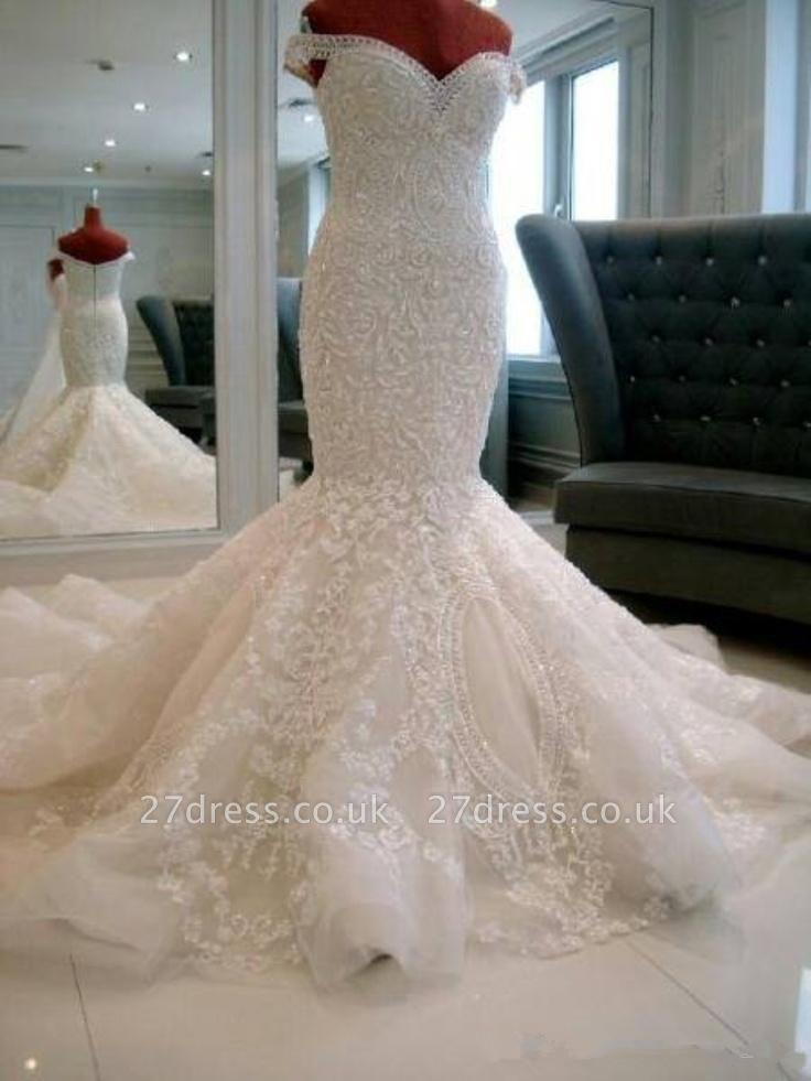 Gorgeous Off-the-shoulder Pearls Wedding Dress Sexy Mermaid Lace Long Train