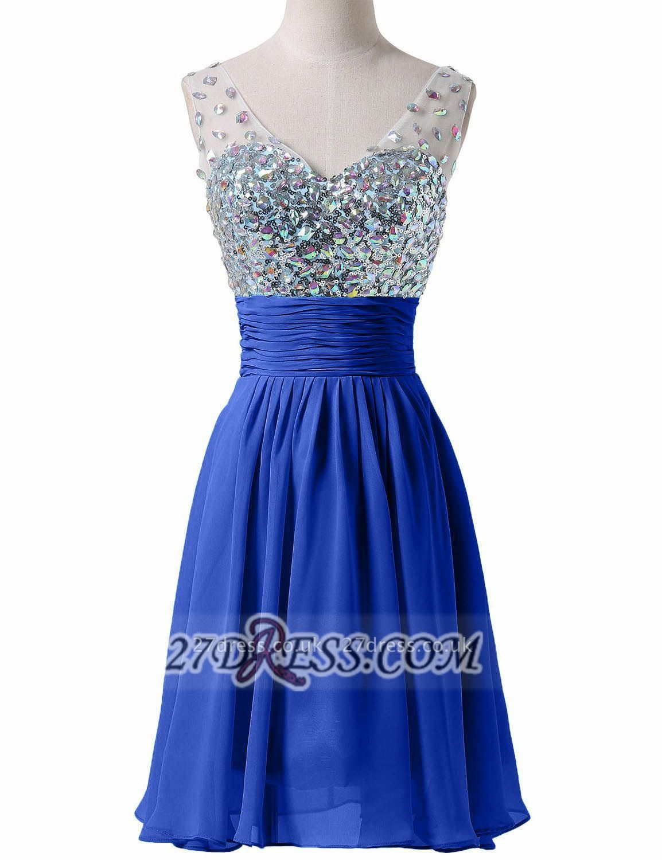 Modern Sweetheart Sleeveless Short Royal Blue Homecoming Dress UK Sheer Strap Sequins Crystals Chiffon Cocktail Gown