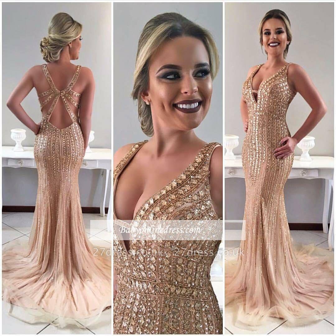 V-neck crystal evening Dress UK,prom Dress UK mermaid BA8091