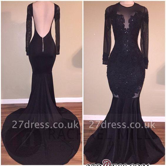 Elegant Long-Sleeves Mermaid Black Backless Appliques Prom Dress UK BA5131