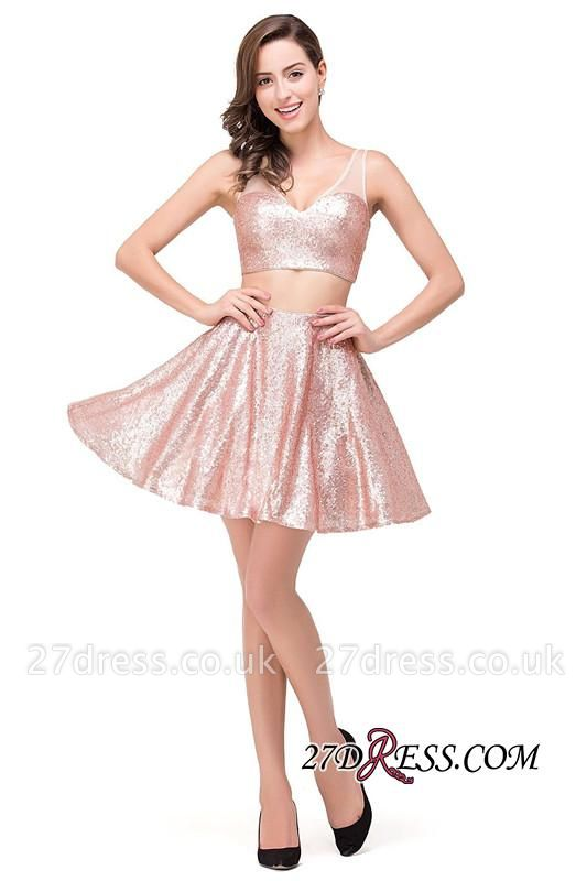 Elegant Sequined Lace-Up Two-Pieces Mini Homecoming Dress UK