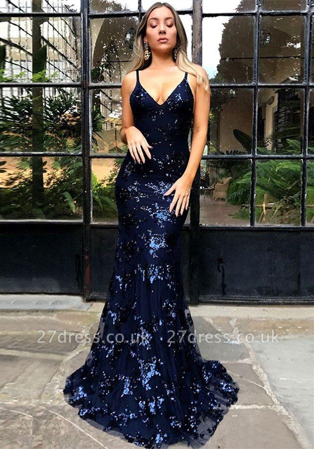 Elegant Spaghetti Strap Lace Sleeveless Evening Gown | Lace-Up Evening Dress UK BA7489