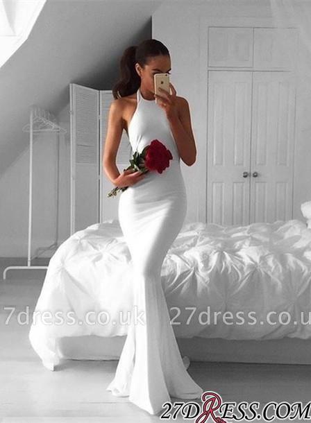 Sleeveless Elegant Mermaid Halter White Sweep-Train Prom Dress UK BA4918