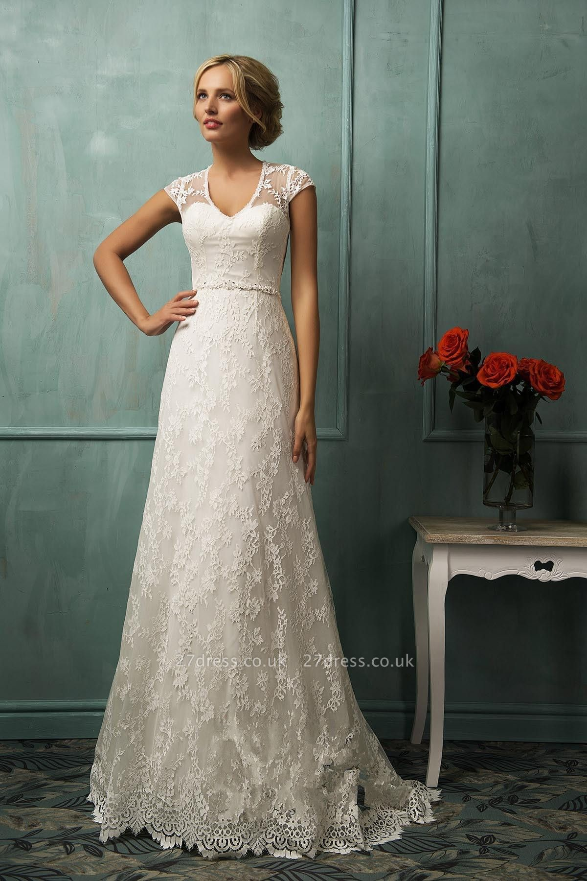 Elegant Cap Sleeve Lace Wedding Dress With Zipper Button Bridal Gowns